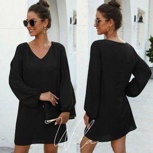 ✨Minimalist Long sleeve dress v neck black boho